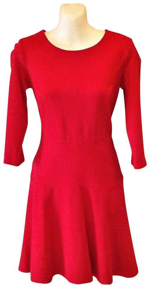 Ann Taylor Red Fit And Flare Ponte Mid Length Night Out
