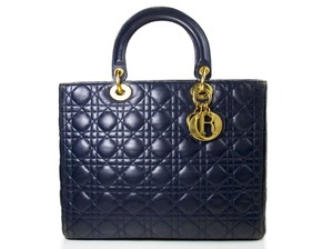 Dior Christian Large Lady 2017 Vintage Tote in navy