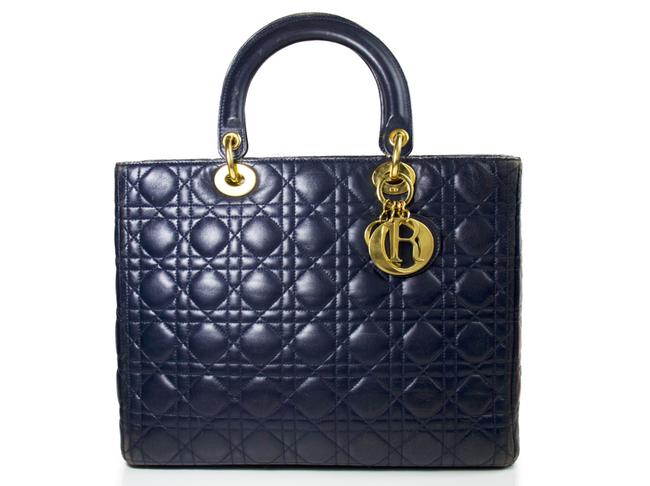 Item - Christian Large Lady In with Gold Hardware Navy Lambskin Leather Tote