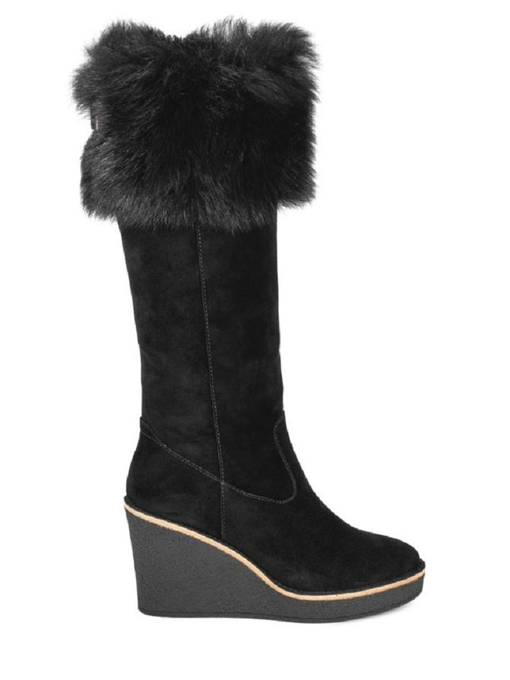 f97f86dbcde UGG Australia Black Valberg Fur Suede Wedge Sold Out Boots/Booties Size US  8.5 Regular (M, B) 22% off retail