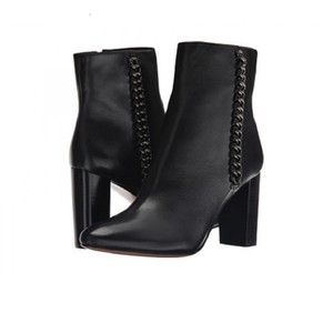Coach Leather Ankle Chain Black Boots