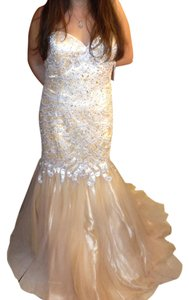 Jovani Mermaid Trumpet Gown Sweetheart Bead Beaded Beading Tulle Satin Designer Drop Waist Jeweled Jewel Dress