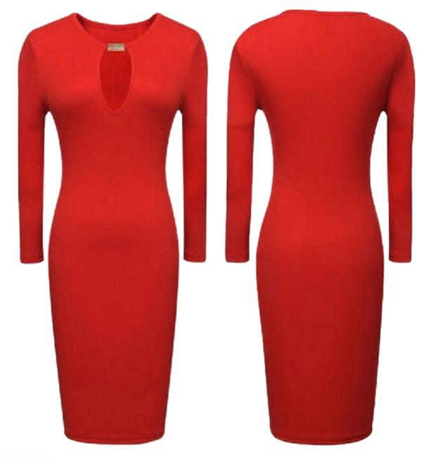 Preload https://item1.tradesy.com/images/red-long-sleeve-pencil-bodycon-mid-length-workoffice-dress-size-12-l-2246380-0-0.jpg?width=400&height=650