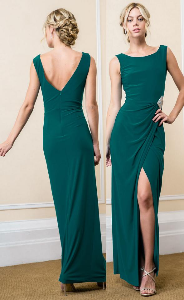 0d4da3adfc3 Jade Green Polyester Mother Of The Bride Deco Open Slit Fitted 2 Pcs Long  Formal Bridesmaid Mob Dress