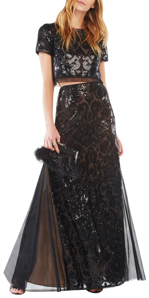 BCBGMAXAZRIA Black Maris Sequin-embroidered Two-piece Gown Long ...