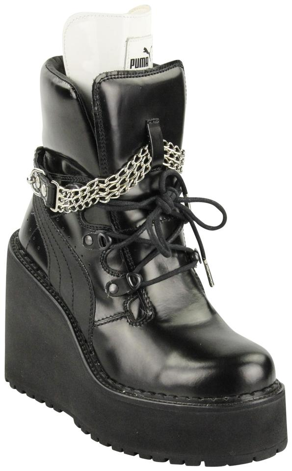 new concept bbf24 42bcc FENTY PUMA by Rihanna Black Leather Wedge Chain Ankle Boots/Booties Size US  7.5 Regular (M, B) 60% off retail