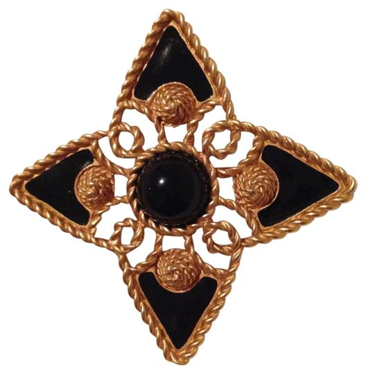 MONET Monet black and goldtone pin (brooch)