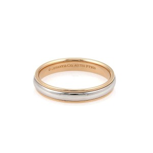 Tiffany & Co. Platinum 18k Rose Gold 4mm Dome Wedding Band Ring Size 10
