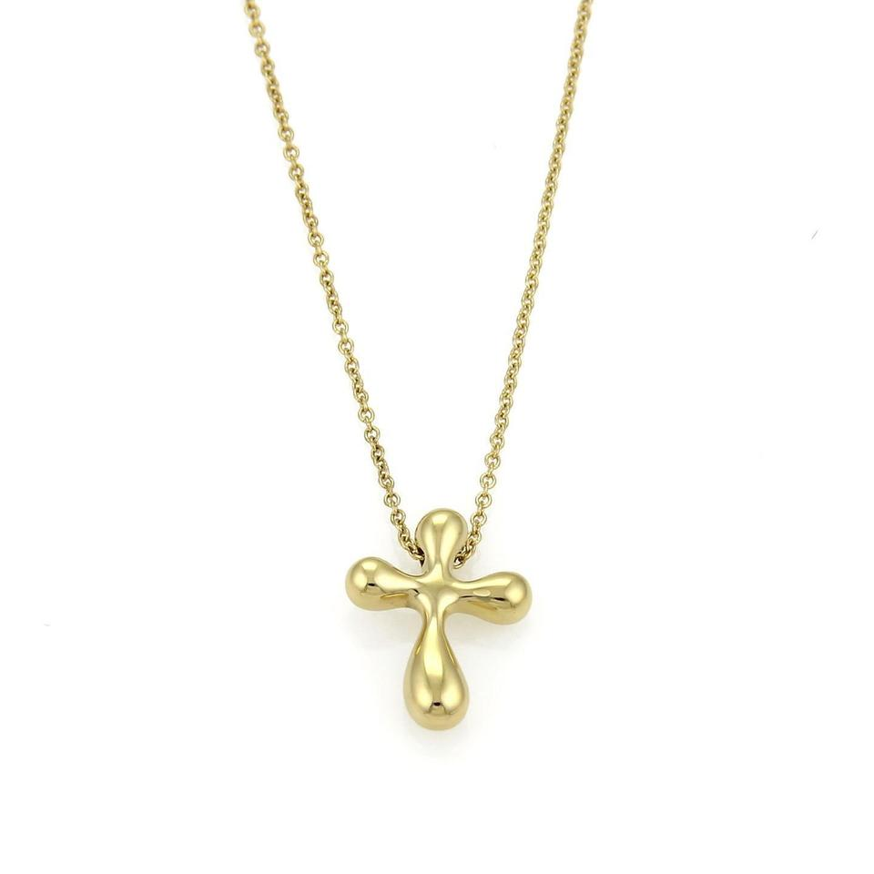fdd8cdc531f39 Tiffany & Co. Yellow Gold Elsa Peretti Cross Pendant Chain Necklace