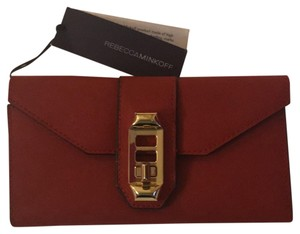 Rebecca Minkoff Red Leather w Black Leather Lining Clutch