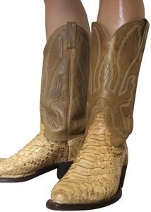 Boot Barn Cowgirl Cowboy Western Snakeskin Natural Gold Toned Boots