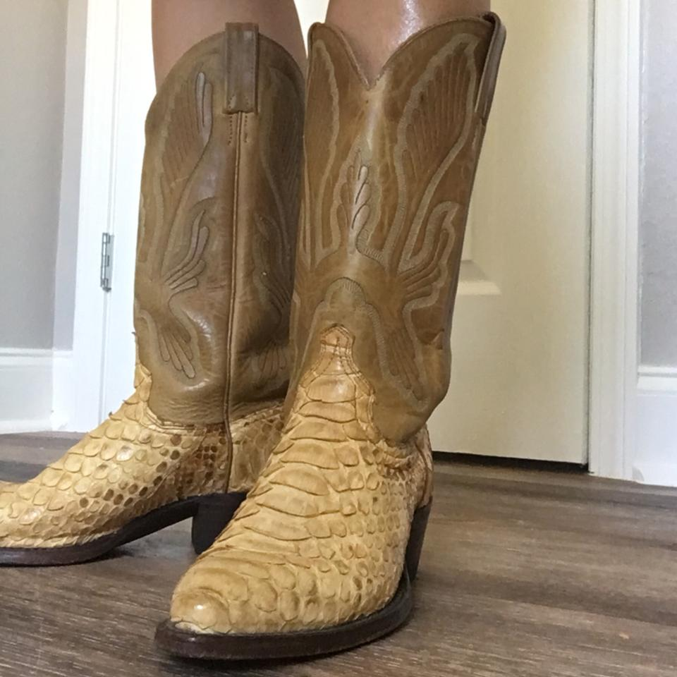 Boot Barn Natural Gold Toned Near Mint Python and Leather ...