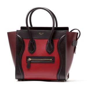 Céline Luggage Micro Micro Luggage Tote in Tricolor Red Burgundy