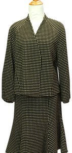 Akris Punto retro wool skirt suit with open swing style and puffed cuffs