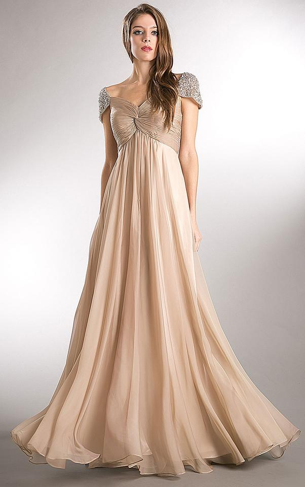 Champagne Chiffon Embellished Sleeves Pleated Empire Cut