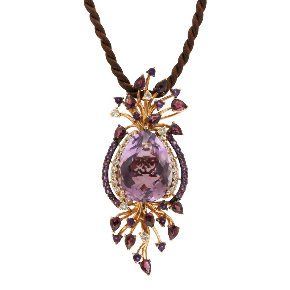 necklace stone astrology gold gifts w triangle pendant products purple with
