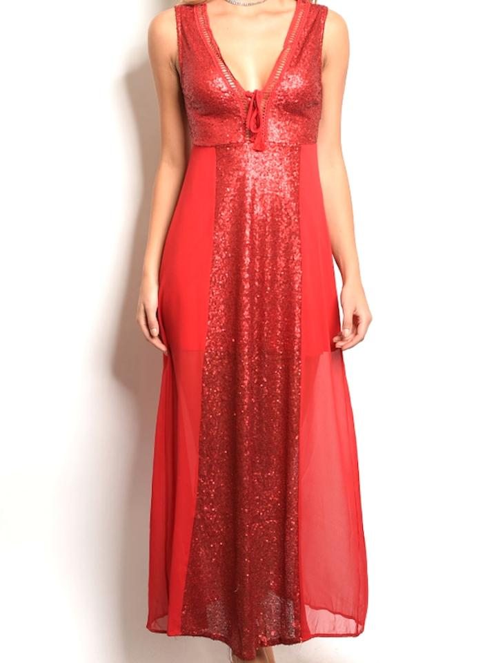 Red Peekaboo Back Sequin Chiffon Contrast Plunge Gown Long Formal