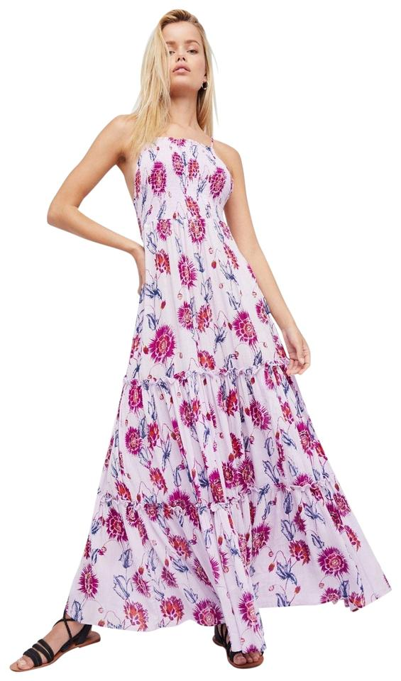 purple maxi dress by free people maxi floral print sleeveless strappy