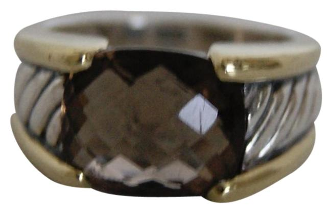 David Yurman Brown Sterling Silver 14k Gold Smokey Quartz Sculpted Ring David Yurman Brown Sterling Silver 14k Gold Smokey Quartz Sculpted Ring Image 1