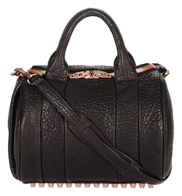 Item - Rockie In Pebbled with Rose Gold Black Lambskin Leather Cross Body Bag