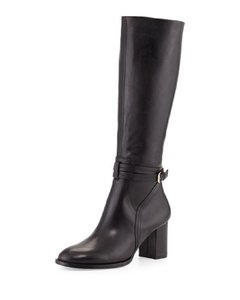Halston Leather Tall Knee High Black Boots