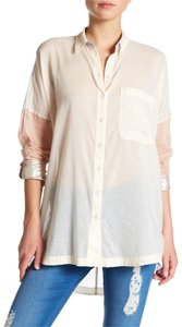 Free People Longsleeve Button Down Cotton High Low Hem Relaxed Fit Top pink combo