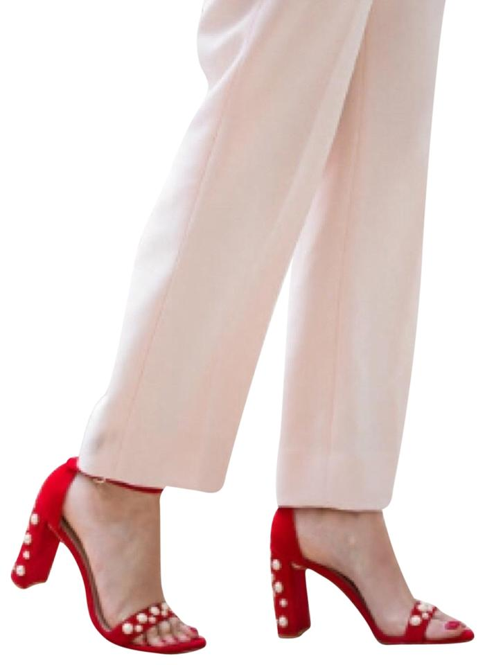 74abe7faca9 Stuart Weitzman Red White Morepearls Pearl Embellished Sandals Size ...