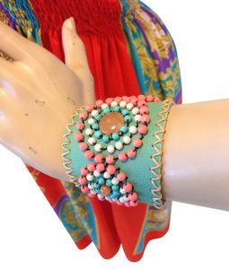 Handmade Leather & Beaded Bracelet