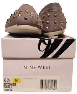 Nine West Studded Gold Canvas Grey Flats