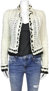 Chanel Vintage Crochet Jacket Cardigan White Blazer