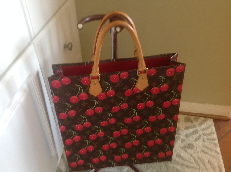 Louis Vuitton Sac Plat Limited Edition Brown Red Green Leather Tote ... 43cc38f1e58aa