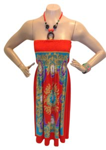 Other short dress Orange, Purple, Turquoise Scarf Print Beaded Neck Ties on Tradesy
