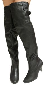 Bamboo Faux Leather Buckle Otk black Boots