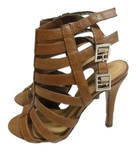 Classified Peep Toe Caged Gladiator Buckle Tan Pumps