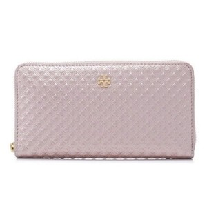 Tory Burch Tory Burch Marion Rose Gold Metallic Embossed Leather Zip Around Wallet