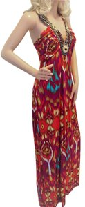 Multi Maxi Dress by Blu Heaven Beaded Neckline Pockets Ikat Print