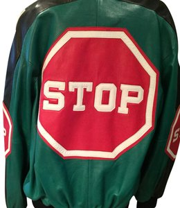 Michael Hoban Red/Green Leather Jacket