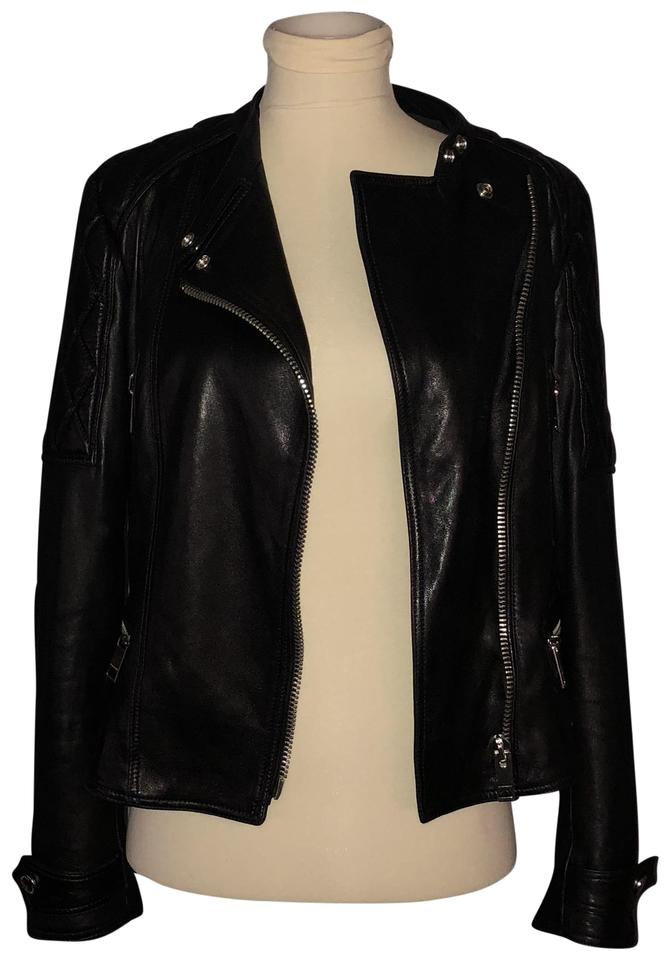 Burberry Black Brit Partly Quilted Sleeve Leather Moto Biker