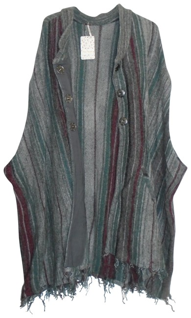 Item - Multi-color Charcoal Combo Stripe Shawl Cardigan Ob415222 Poncho/Cape Size 4 (S)
