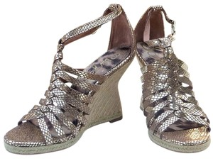 Sam Edelman Strappy Metallic Snakeskin Annabel gold Platforms