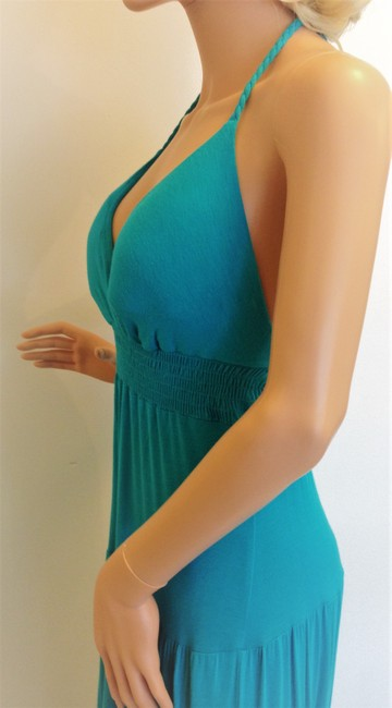 Turquoise Maxi Dress by Stella Cruz Blue Smocking Tiered Braided Ties