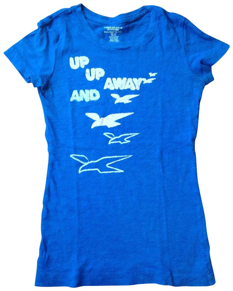 7a3aee188a6 American Eagle Outfitters Cobalt Blue Up Up and Away Fitted Tee Shirt