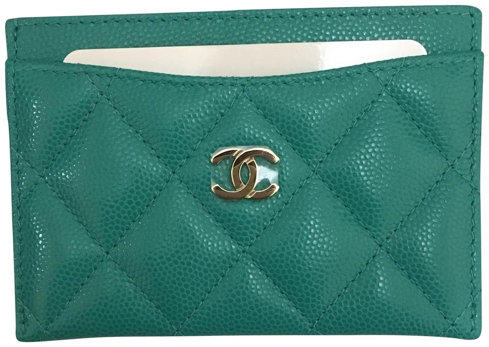 f8a1a14c3894 Chanel CHANEL Caviar Quilted Card Holder O Case Turquoise 17C Image 0 ...