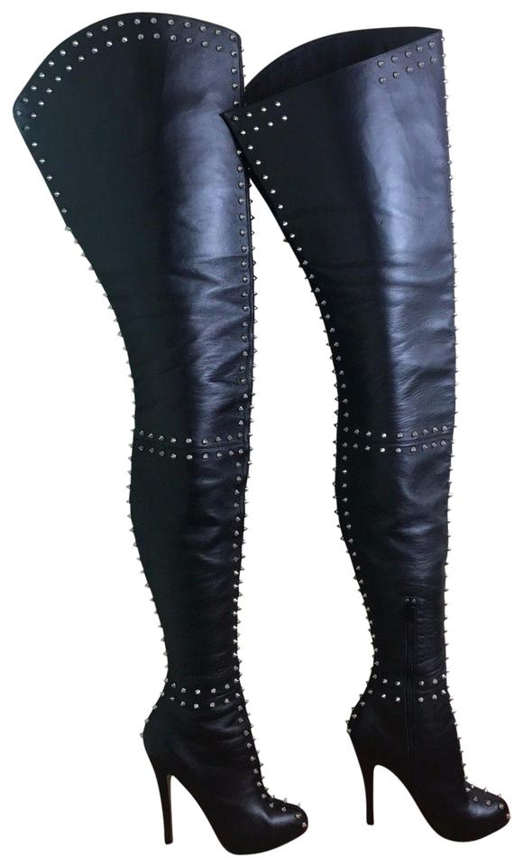 9ec5e2d95d12 Christian Louboutin black Boots Image 0 ... Faux Patent Leather Thigh-High  Boots
