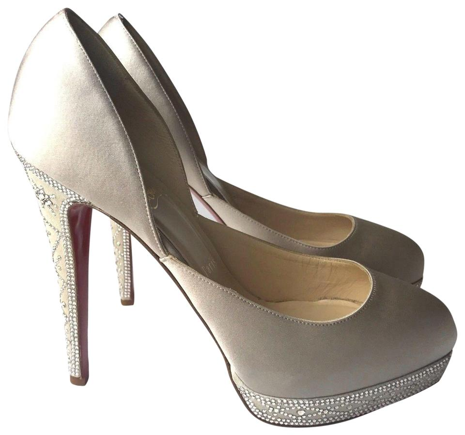 Christian Louboutin Pearl Ivory Eugenie Pumps 140 Crepe Satin Strass Pumps Eugenie aee056