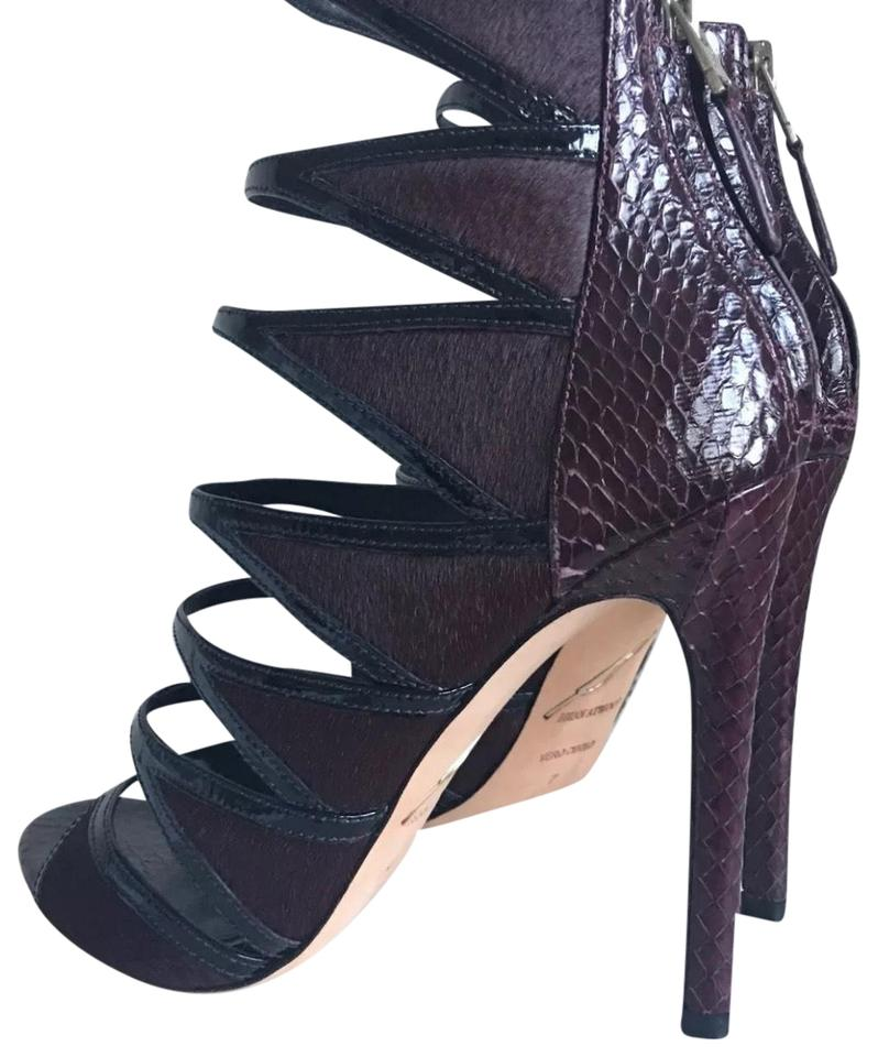 0abbaf781d8 Brian Atwood Black and Burgundy (Oxblood) Lyndenn Sandal Pumps Size ...