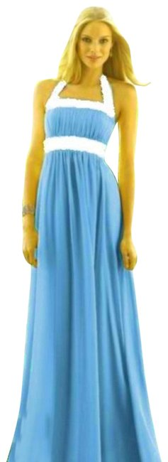 Item - Turquoise / Ivory 6566 Long Night Out Dress Size 6 (S)
