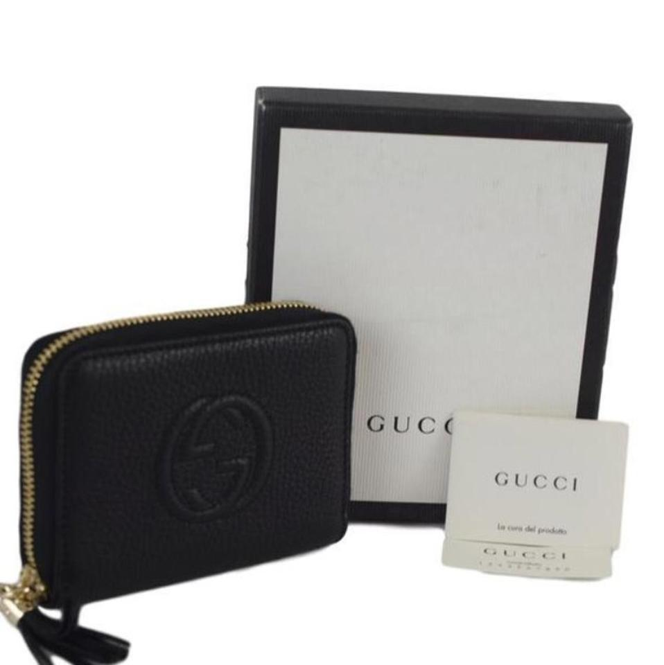 928849a2759 Gucci Black Soho 351484 Women s Leather Disco Mini Zip Around Wallet ...