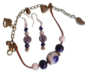 Handpainted Ceramic Asian Beads Bracelet and Matching Earrings Combo