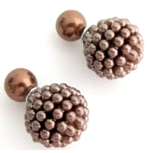 Fashion Double Sided Stud Earrings In Chocolate Brown Color